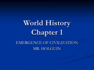 World History Chapter 1