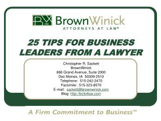 25 TIPS FOR BUSINESS LEADERS FROM A LAWYER