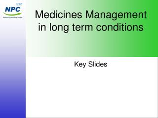 Medicines Management in long term conditions