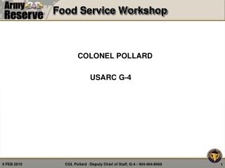 Food Service Workshop