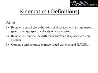 Kinematics ( Definitions)