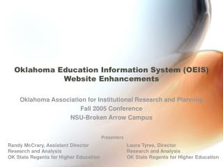 Oklahoma Education Information System (OEIS) Website Enhancements