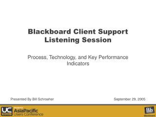 Blackboard Client Support Listening Session