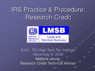 IRS Practice & Procedure: Research Credit