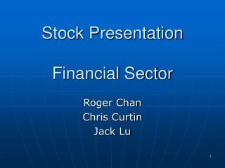 Stock Presentation  Financial Sector