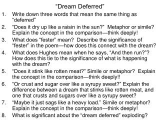 """Dream Deferred"""