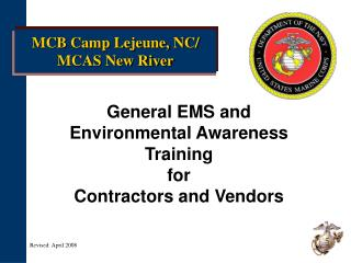 General EMS and  Environmental Awareness Training  for  Contractors and Vendors