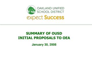SUMMARY OF OUSD INITIAL PROPOSALS TO OEA