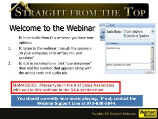 Welcome to the Webinar