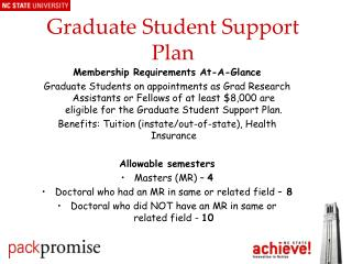 Graduate Student Support Plan