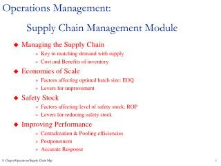 Operations Management: Supply Chain Management Module