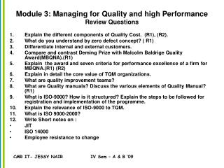 Module 3: Managing for Quality and high Performance Review Questions