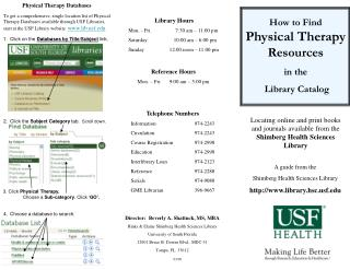 Physical Therapy Databases