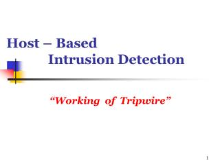 Host – Based Intrusion Detection