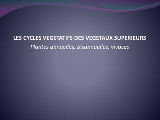 LES CYCLES VEGETATIFS DES VEGETAUX SUPERIEURS Plantes annuelles, bisannuelles, vivaces
