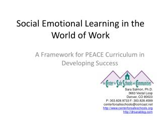Social Emotional Learning in the World of Work