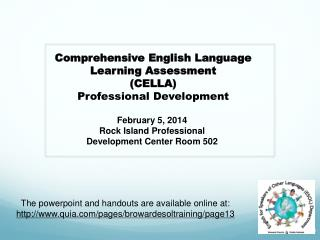 February 5, 2014 Rock Island Professional Development Center Room 502