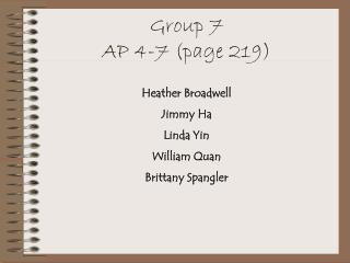 Group 7 AP 4-7 (page 219)