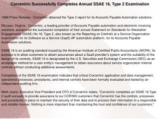 Corcentric Successfully Completes Annual SSAE 16, Type 2 Exa