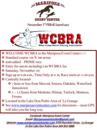 November 1 st  PRIME barrel race