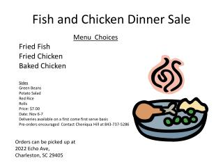 Fish and Chicken Dinner Sale