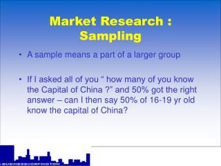 Market Research : Sampling