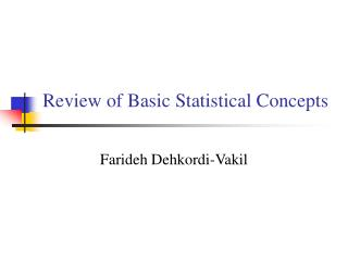 Review of Basic Statistical Concepts