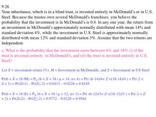 Let  X  = investment return (%),  M  = Investment in McDonalds, and  S  = Investment in US Steel