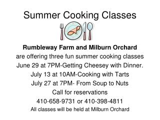 Summer Cooking Classes