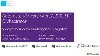 Automate VMware with SC2012 SP1 Orchestrator Microsoft Tools for VMware Integration & Migration