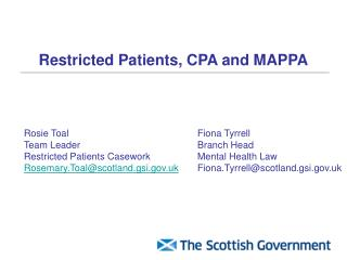 Restricted Patients, CPA and MAPPA