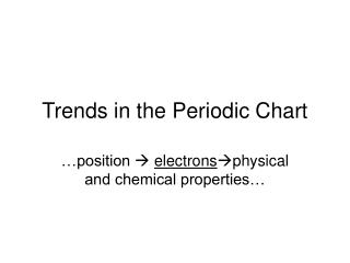 Trends in the Periodic Chart