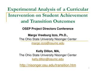 Experimental Analysis of a Curricular Intervention on Student Achievement and Transition Outcomes