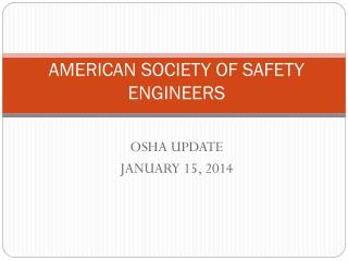 AMERICAN SOCIETY OF SAFETY ENGINEERS