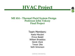 HVAC Project ME 414 – Thermal Fluid System Design	 Professor John Toksoy Final Project