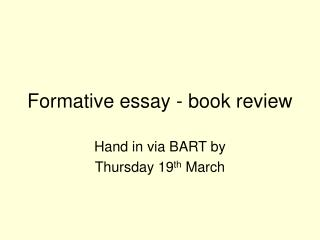 Formative essay - book review