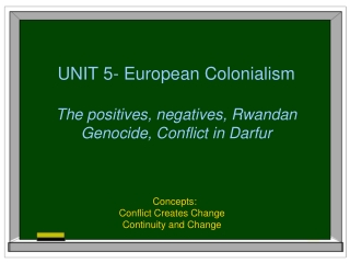 Unit 5 Colonialism and Independence
