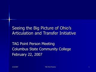 Seeing the Big Picture of Ohio's Articulation and Transfer Initiative