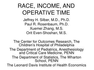 RACE, INCOME, AND OPERATIVE TIME