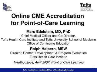 Online CME Accreditation for Point-of-Care Learning