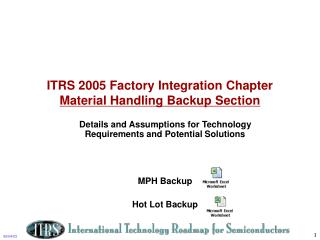 ITRS 2005 Factory Integration Chapter Material Handling Backup Section