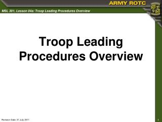 Troop Leading Procedures Overview