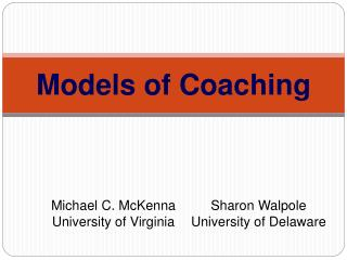 Models of Coaching