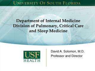 Department of Internal Medicine Division of Pulmonary, Critical Care and Sleep Medicine