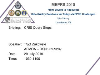Briefing:  	CRIS Query Steps