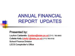 ANNUAL FINANCIAL REPORT  UPDATES