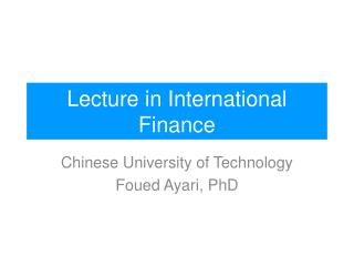Lecture in International Finance