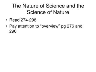 The Nature of Science and the Science of Nature