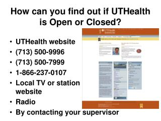 How can you find out if UTHealth is Open or Closed?