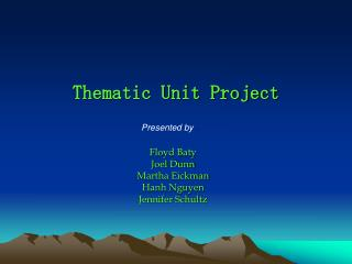 Thematic Unit Project